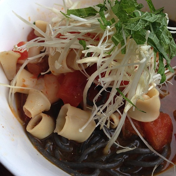 Squid Ink Spaghettina: Monterey Squid, Local White Shrimp, Garlic Tomato Compote, Japanese Red Curry, Lemon Grass Dashi-Broth, Seaweed Butter, Enoki Mushrooms, Shiso @ Skool Restaurant