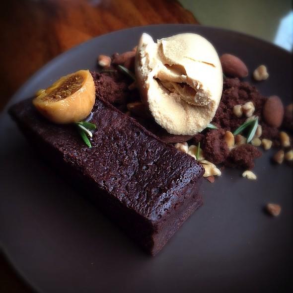 flourless chocolate cake with caramel ice cream and liqueur soaked fig @ Skool Restaurant