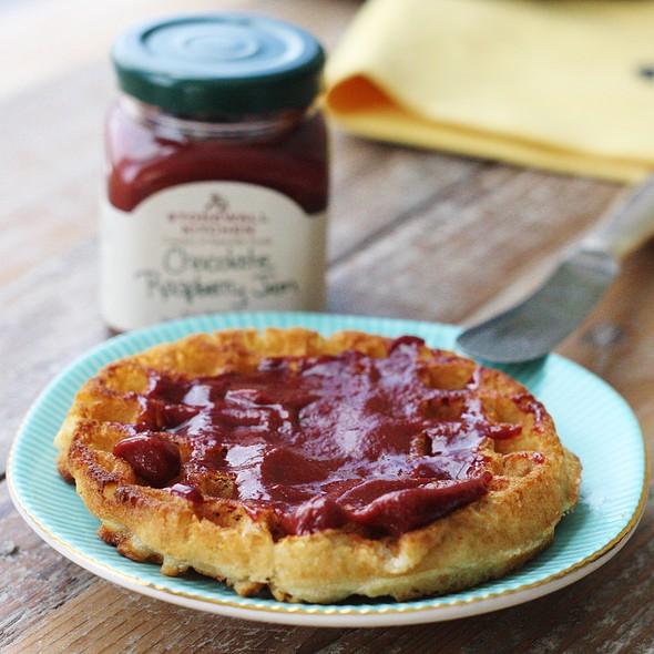 GF Waffle with Dark Chocolate Raspberry Jam @ Sar's Kitchen