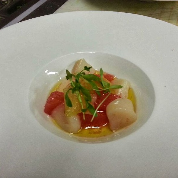 Bay Scallop Crudo with Grapefruit & Candied Ginger @ North Fork Table & Inn