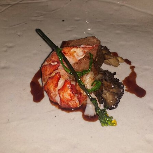 Braised Short Ribs With Poached Lobster Served With Cauliflower Puree And A Red Wine Reduction  @ Michael Mina