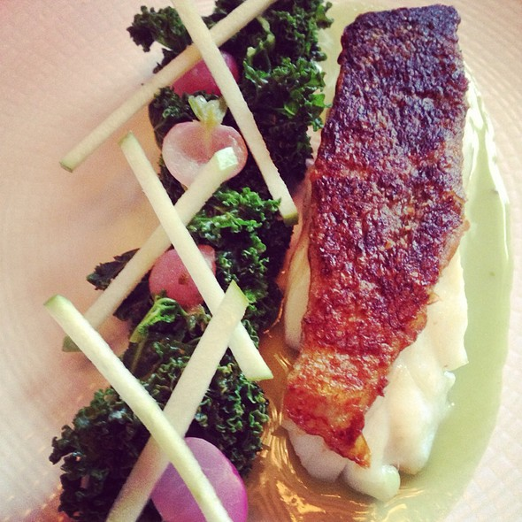 Plancha-Cooked Cod, Steamed Kale And Radish, Green Apple Emulsion @ Crystal Room, Maison Baccarat