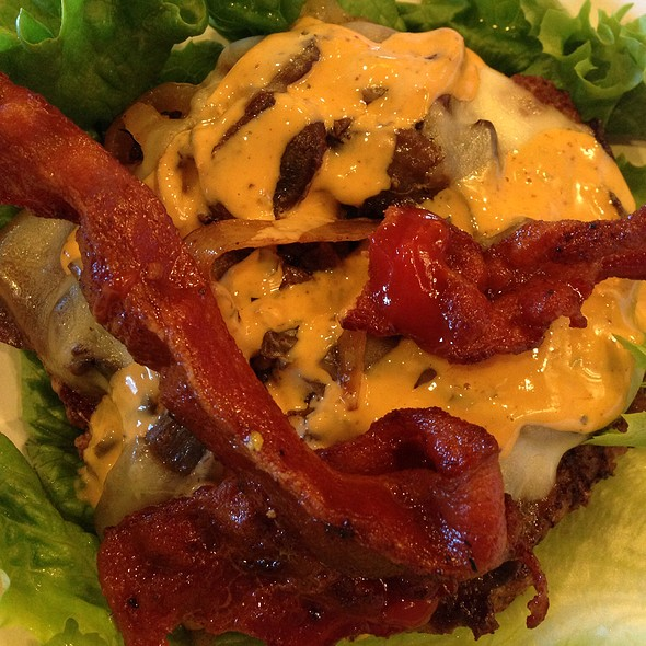 Bacon Mushroom Swiss Burger, Protein Style @ Illegal Burger Co.