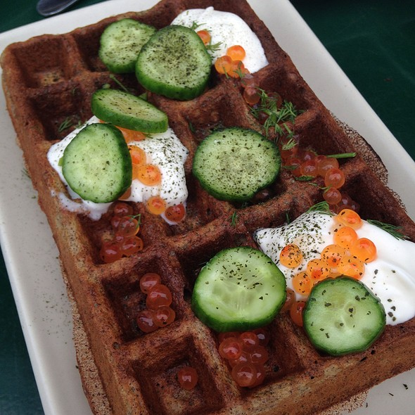 Buckweat Waffle With Creme Fraiche, Cucumber And Salmon Eggs @ Linea Caffe