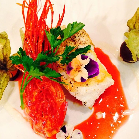 Sea bass and Flambé Red shrimp.  - Sanctuary, Minneapolis, MN