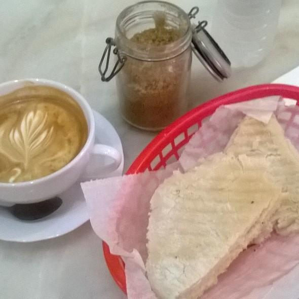 Latte & Artisanal swiss cheese toast @ Don Ruiz Coffee Shop