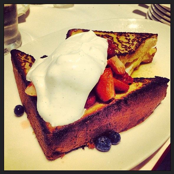 Blueberry and Marscapone Stuffed Brioche French Toast @ The River Seafood & Oyster Bar