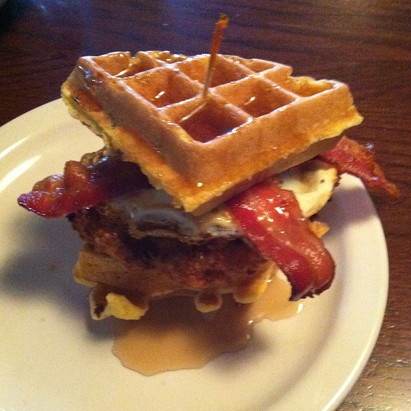 Chicken Bacon Waffle Sandwich @ Olde Main Brewing Co