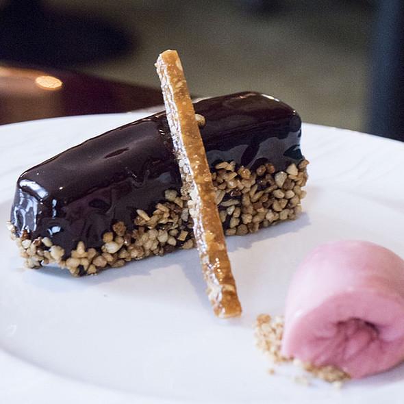 TCHO Chocolate, Hazelnut, Black Pepper-Rhubarb Sorbet - Nob Hill Club at the Mark Hopkins, San Francisco, CA