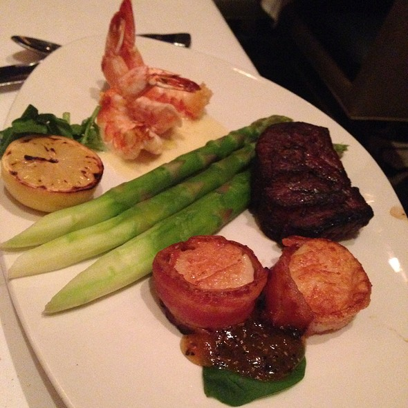 6Oz Filet Mignon Grilled Shrimp And Scallops Wrapped In Bacon - Nero's Italian Steakhouse, Atlantic City, NJ
