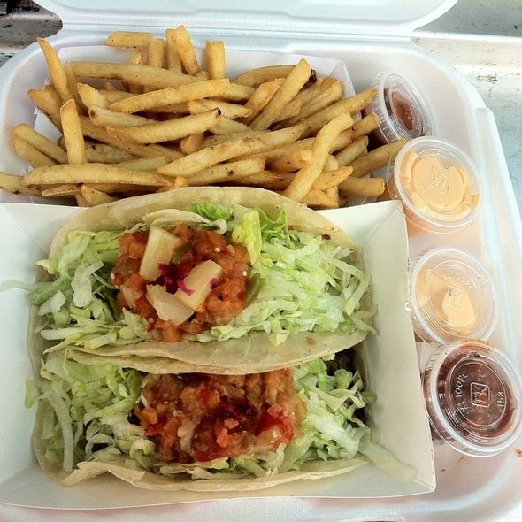 Korean Bbq Taco, Spicy Pork Taco And French Fries @ Tabe BBQ Mobile Location