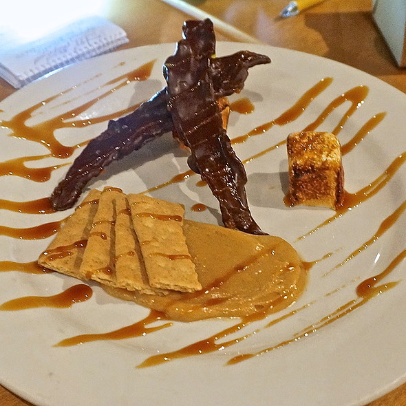 Chocolate dipped bacon s'mores, caramel, housemade marshmallows, whipped peanut butter, graham crackers