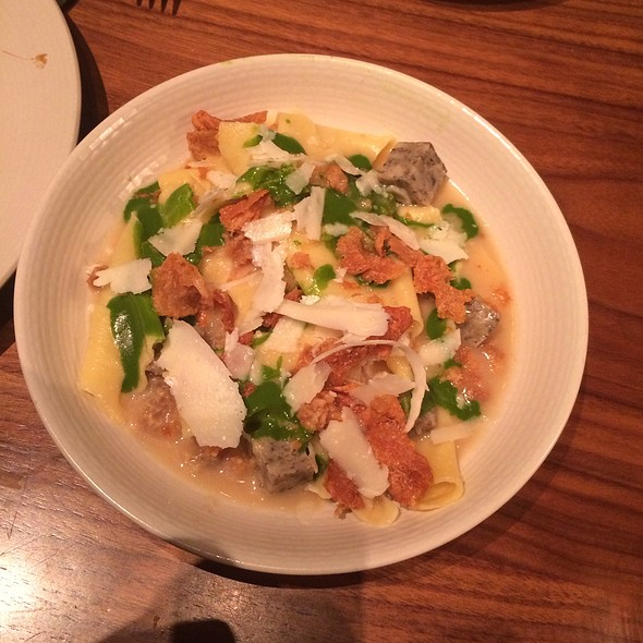 Hand Torn Pasta, snail sausage, garlic, crispy chicken skin, pecorino, Italian parsley