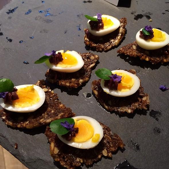 Quail Eggs, Ryebread And Chocolate Canapee @ Hotel Chocolat