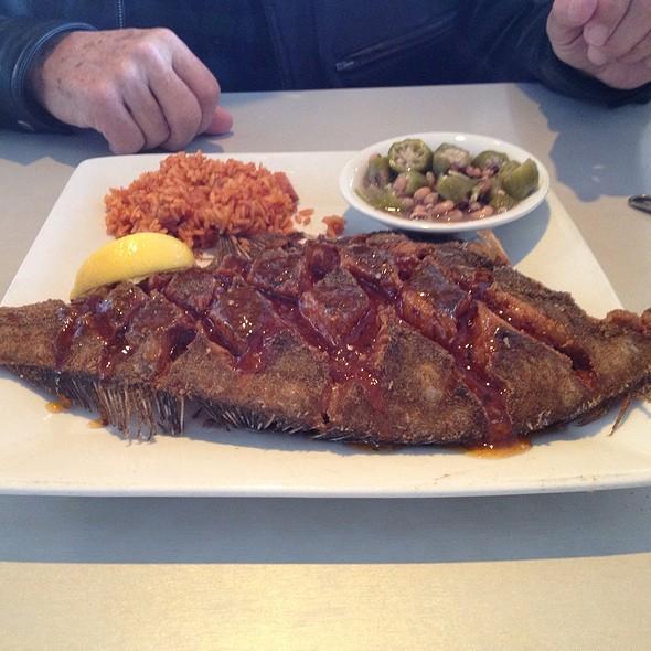 Crispy Fried Whole Flounder - Fleet Landing Restaurant & Bar, Charleston, SC