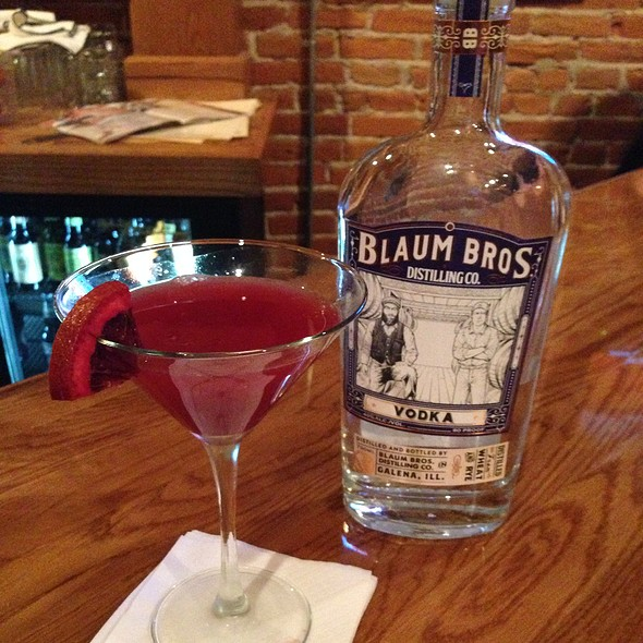 Blaum Bros Blood Orange Vodka Martini - One Eleven Main, Galena, IL