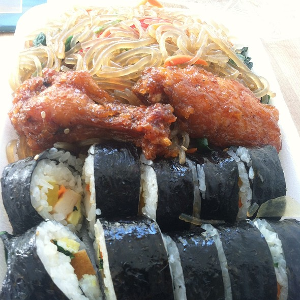 Kimbap, Japchae And Chicken Wing Plate