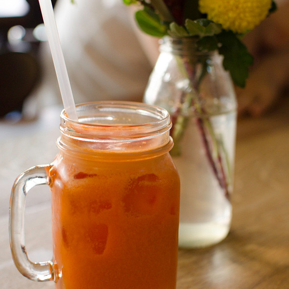 Fresh-squeezed Carrot and Orange Juice @ Bread in common