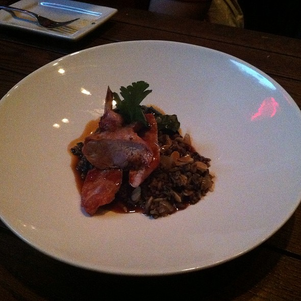 Hickory Smoked Pheasant With Almond Wild Rice And Collards - Eno Vino Wine Bar and Bistro, Madison, WI