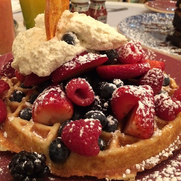 Belgium Waffle With Fresh Fruit And Side Of Bacon @ Norma's