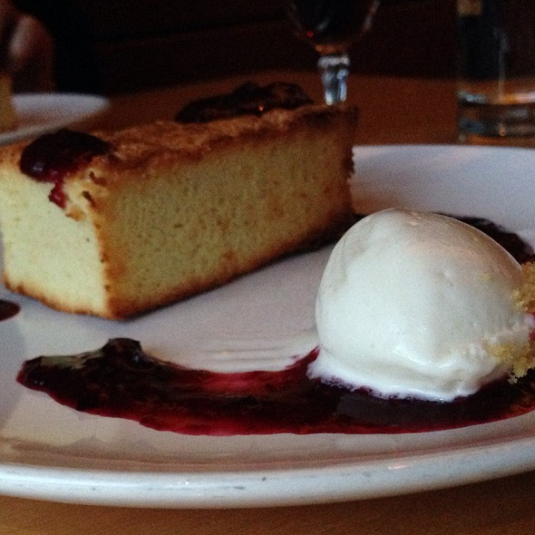 Toasted Almond Cake, Berry Compote, Goat Cheese Ice Cream - Aviary, Portland, OR