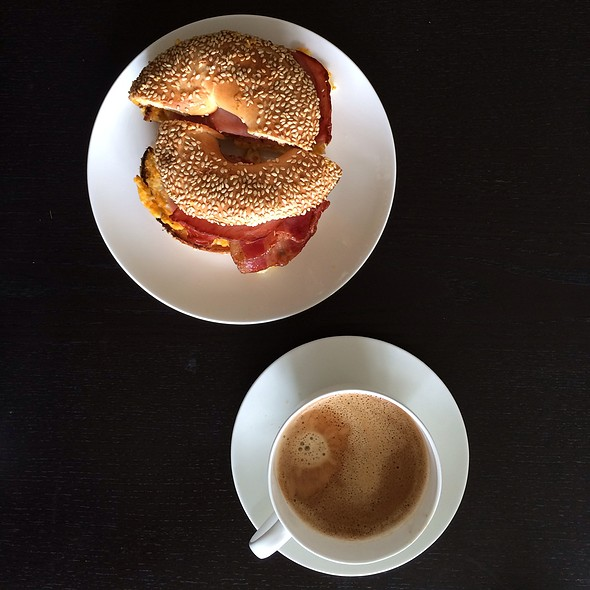 Bacon And Egg Bagel And Black Coffee @ Huff Bagelry