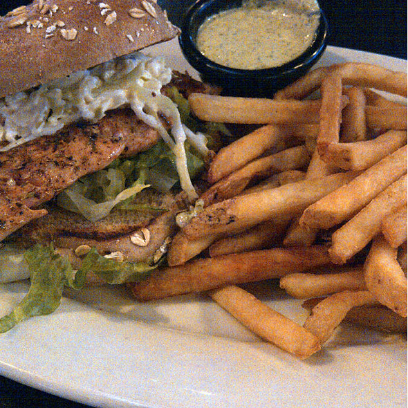 Salmon Sandwich with Fries - Hudson Grille - Midtown, Atlanta, GA