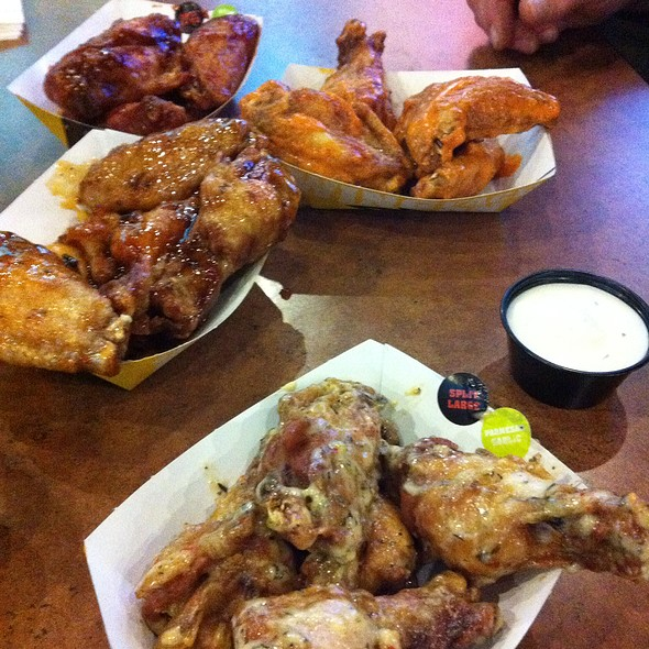 Sweet Bbq, Jammin Jalapeno, Mild And Garlic Parmesan Chicken Wings @ Buffalo Wild Wings