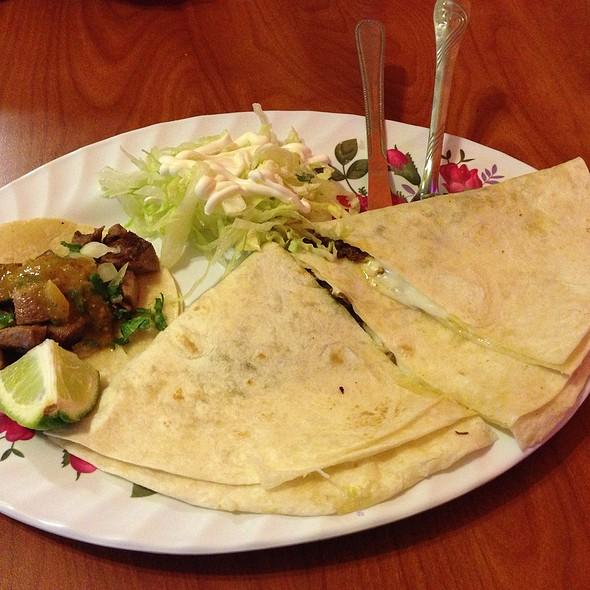 Squash Blossom Quesadilla And Lengua Taco