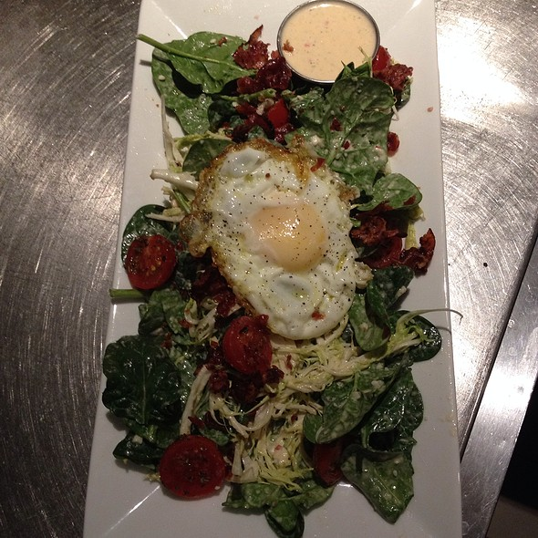Spinach Frisee With Garlic Parmesan Dressing And Sunny Side Egg
