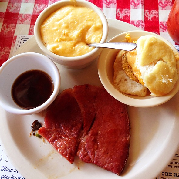 Country Ham (1/2 Order), Cheese Grits & Pimento Cheese W/ Fried Green Tomato On A Biscuit