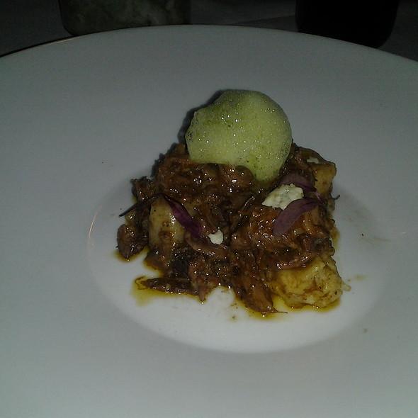 oxtail gnudi with gorgonzola and basil foam @ Bocce Wine Bar & Tapas