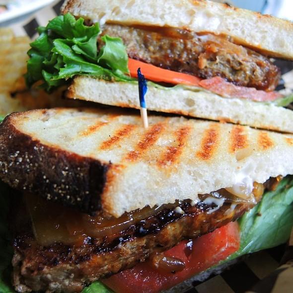 Hot Meatloaf Sammy with Cowboy Onions, Lettuce & Tomato @ Sidewalk Cafe