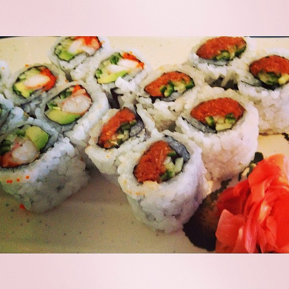 Spicy Tekka Maki With Tuna And Cucumber And A New Calfornia Maki With Shrimp, Tobiko, Avocado And Cucumber.