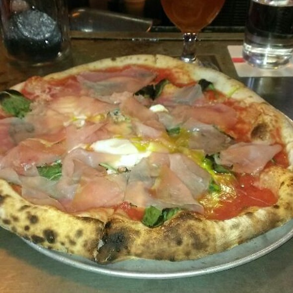 Milled Tomato Pizza With Egg And Shaved Ham