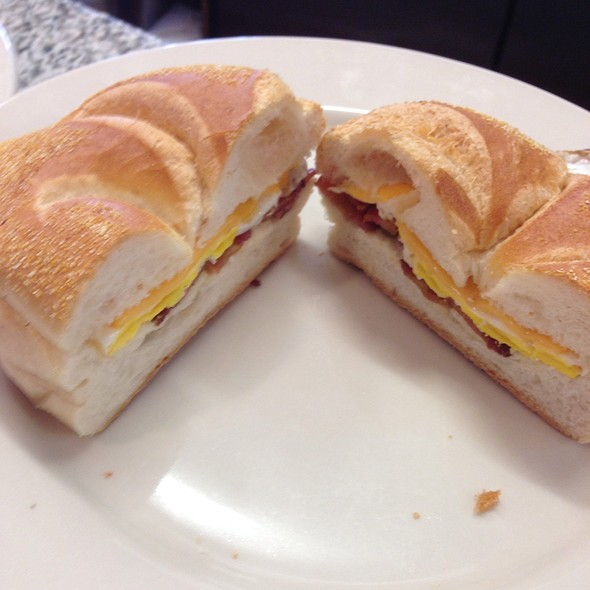 Bacon, Egg & Cheese On Roll @ Maureen's Kitchen