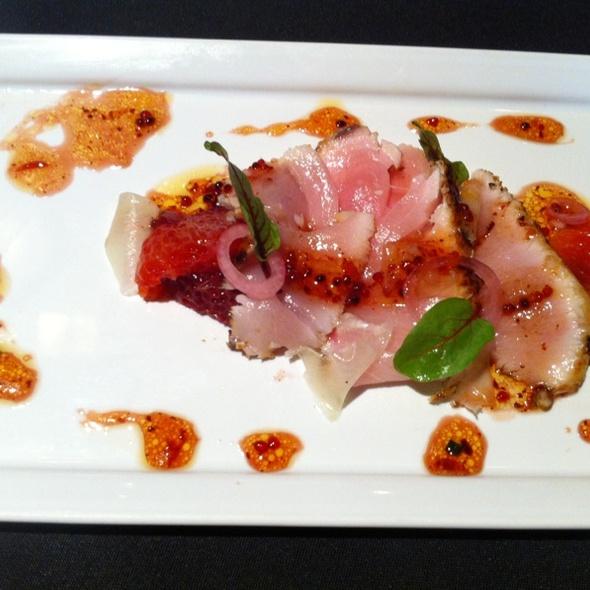Yellowfin Tuna Crudo With Korean Pepper Vinaigrette And Blood Oranges @ Restaurant August