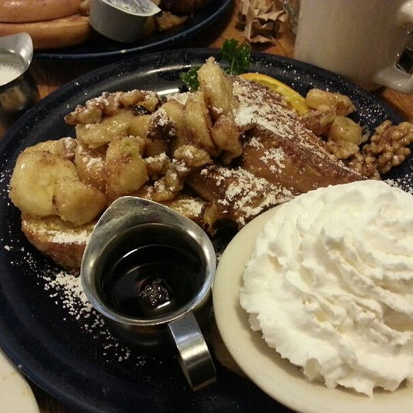 Belgian Waffles With Walnuts, Bananas And Whip Cream @ Walnut Avenue Cafe