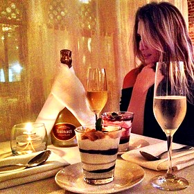dessert and champagne