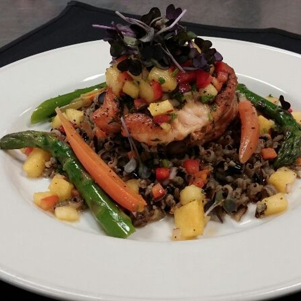 Baked Salmon With Fresh Herbs And Citrus Pineapple Salsa,wild Rice Pilaf  And Seasonal Vegetables At Formaggio Taverna And Patio   Rancho Cordova  Restaurant