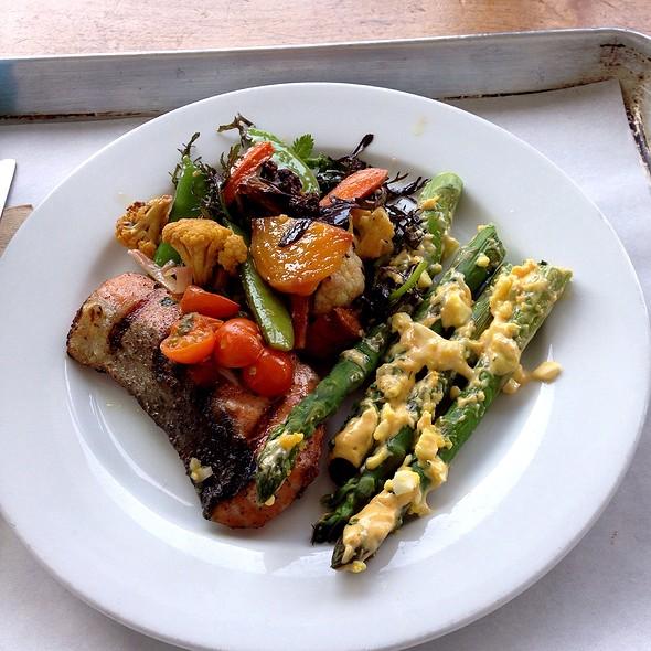 Salmon, Asparagus, Spring Vegetables