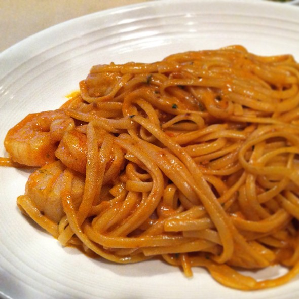 Linguini Al Cartoccio, Jumbo Shrimp & Scallops In A Rose Sauce - Italian Affair Restaurant, Glassboro, NJ