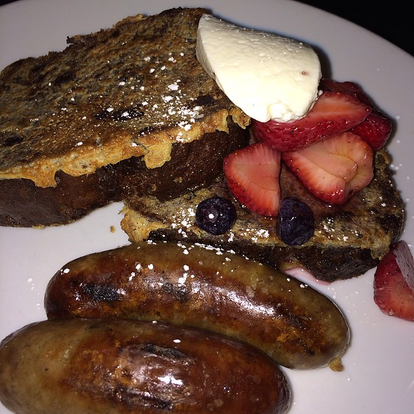 Chocolate Banana Bread French Toast With Whipped Orange Mascarpone And Bison Sausage