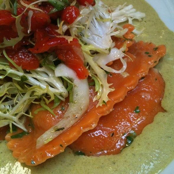 Grilled Vegetable Ravioli With Asparagus Alfredo Sauce & Roasted Pepper Salad @ the hudson house of nyack
