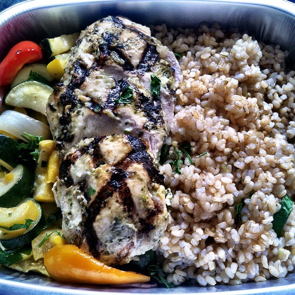 Grilled Mary's Air Chilled Chicken Breast With Roasted Vegetables & Brown Rice @ Paradise Foods