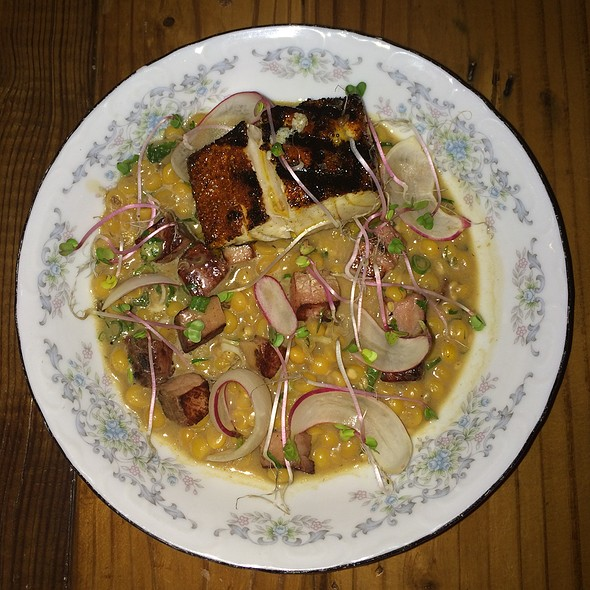 Redfish, Popcorn Hominy, Ham, Radish - Odd Duck, Austin, TX