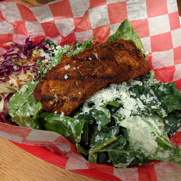 Blackened Grilled Salmon Over Spinach & Kale Salad @ Morgans's Lobster Shack And Fish Market