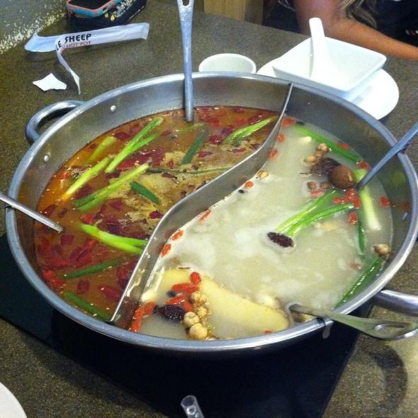half and half broth @ Little Sheep Mongolian Hot Pot