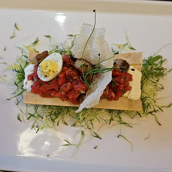 Beef tartare, foie gras, sambal, deviled quail egg, bone marrow cream - Cafe Des Architectes/CDA, Chicago, IL