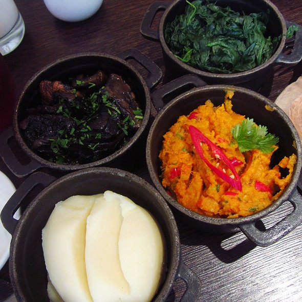 Steamed Spinach, Grilled Portobello Mushrooms, Roast Sweet Potato, Mash Potato @ Maze Grill